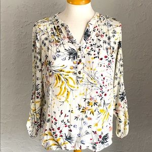 Spring Floral Blouse with 3/4 Length Sleeves